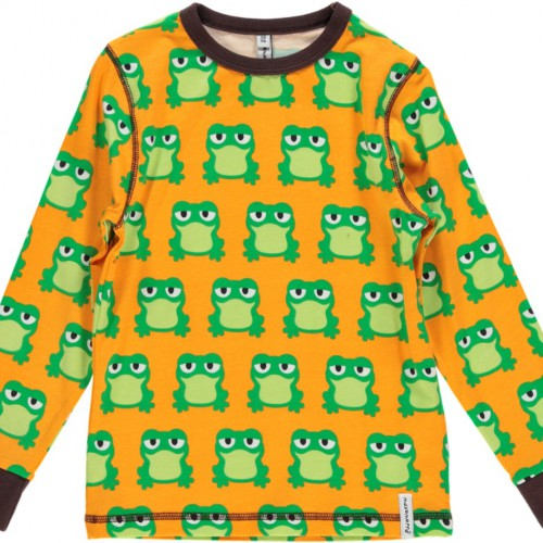 Camiseta de algodón orgánico de manga larga con estampado de ranas