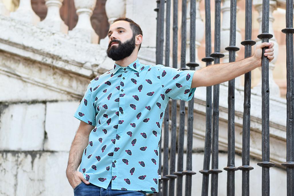 camisa estampado corazones hombre