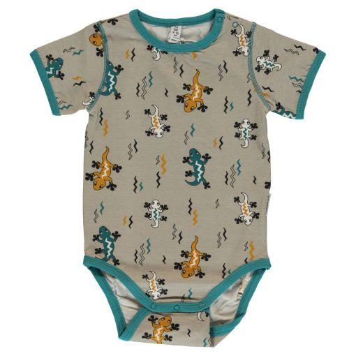 Body de bebé, de manga corta y algodón orgánico con estampado de lagartijas sobre fondo gris.