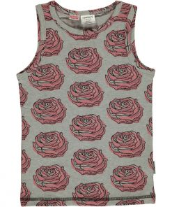 Camiseta de tirantes, de algodón orgánico con estampado de rosas sobre fondo gris.