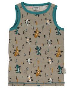 Camiseta de tirantes de niño con estampado de lagartijas sobre fondo gris. Está hecho en algodón orgánico.