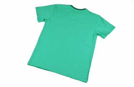 Camiseta color block emerald, de adulto, hecha en punto de algodón orgánico y de manga corta. El delantero es de color esmeralda y las mangas y el trasero color mint.