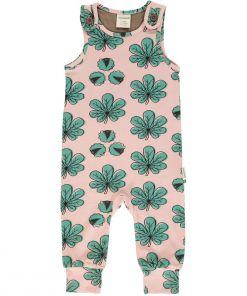 Mono estampado de algodón orgánico, de tirantes, con bonito estampado de hojas de castaño sobre fondo rosa. Es una prenda infantil y unisex.