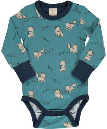 Body estampado de algodón orgánico, de manga larga, con bonito estampado de zorros sobre fondo azul y vivos a contraste en navy. Es una prenda unisex.