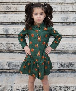 Vestido infantil camisero, de manga larga, hecho en algodón orgánico con estampado de perezosos. Vestido de niña hecho en España.