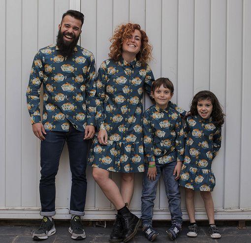 Conjuntos de prendas para vestir a juego con tu familia: vestidos camiseros de mujer y niña y camisas de hombre y niño, hechos en algodón con estampado de peces globo.