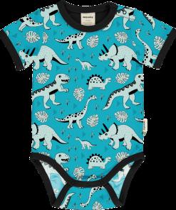 Body estampado de algodón orgánico, de manga corta, con bonito estampado de dinos sobre fondo azul y vivos a contraste en color negro.