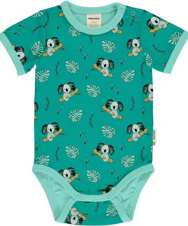 Body estampado de algodón orgánico, de manga corta, con bonito estampado de koalas sobre fondo azul y vivos a contraste en azul claro.