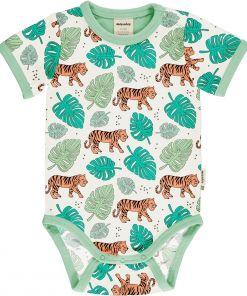 Body estampado de algodón orgánico, de manga corta, con bonito estampado de tigres sobre fondo crudo y vivos a contraste en verde.