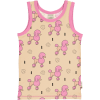 Camiseta de tirantes, hecha en algodón orgánico, con divertido estampado de caniches sobre fondo rosa y vivos a contraste en fucsia.