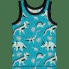 Camiseta de tirantes, hecha en algodón orgánico, con divertido estampado de dinos sobre fondo azul. Es una prenda unisex.