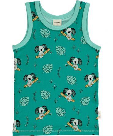 Camiseta de tirantes, hecha en algodón orgánico, con divertido estampado de koalas sobre fondo azul y vivos a contraste en turquesa. Es una prenda unisex.