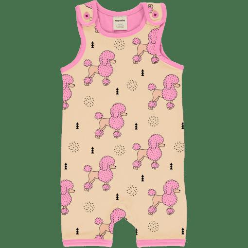 Mono estampado, de tirantes y pantalón corto, hecho en algodón orgánico, con bonito estampado de caniches sobre fondo rosa y vivos a contraste en fucsia.