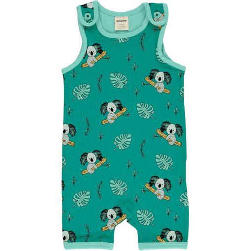 Mono estampado, de tirantes y pantalón corto, unisex, hecho en algodón orgánico, con bonito estampado de koalas sobre fondo turquesa y vivos a contraste en azul.