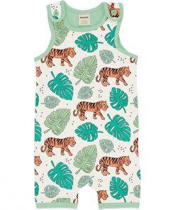 Mono estampado, de tirantes y pantalón corto, unisex, hecho en algodón orgánico, con bonito estampado de tigres sobre fondo crudo y vivos a contraste en verde.