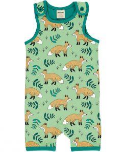 Mono estampado, de tirantes y pantalón corto, unisex, hecho en algodón orgánico, con bonito estampado de zoros sobre fondo verde y vivos a contraste en turquesa.