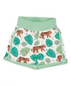 Pantalón corto, hecho en algodón orgánico, con divertido estampado de tigres sobre fondo crudo y vivos a contraste en verde. Es una prenda unisex.