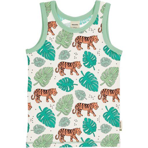 Camiseta de tirantes, hecha en algodón orgánico, con divertido estampado de tigres sobre fondo crudo y vivos a contraste en turquesa. Es una prenda unisex.