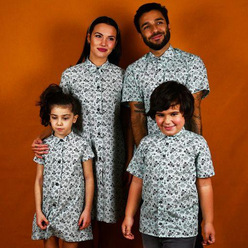 Conjunto de camisas y vestidos camiseros de niños y de adulto con estampado tatu.