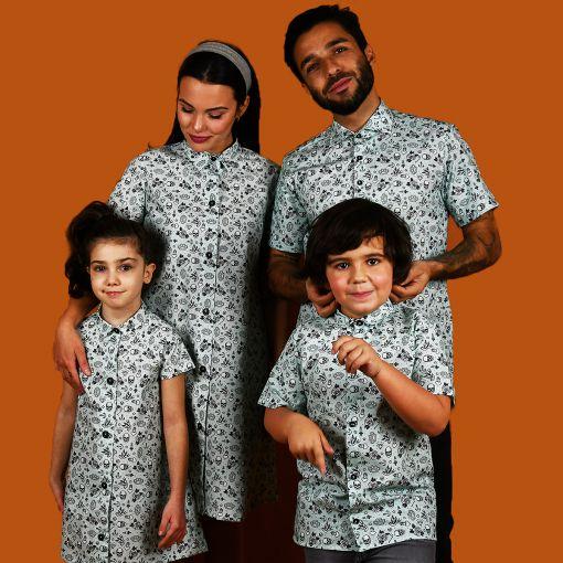 Conjunto de camisas de hombre y niño y vestidos camiseros de mujer y niña con estampado de tatu. Son de manga corta y de algodón orgánico.