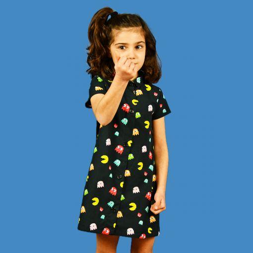 Vestido manga corta infantil, camisero y hecho en algodón orgánico, con estampado de comecocos. Hecho en España de manera sostenible.
