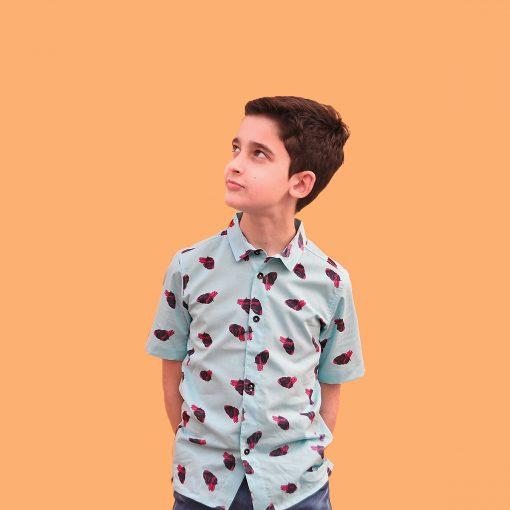 Camisa infantil hecha en algodón orgánico con bonito estampado de corazones sobre fondo turquesa. Es de manga corta y bajo recto.